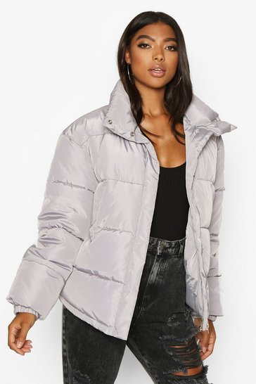 Womens Grey Tall Padded Crop Jacket