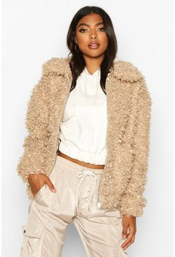 Womens Caramel Tall Teddy Faux Fur Bomber