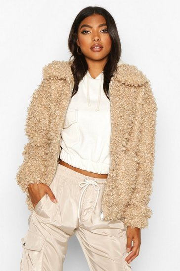 Caramel Tall Teddy Faux Fur Bomber