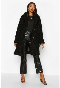 Tall cappotto oversize con colletto in pelliccia sintetica, Nero, Femmina