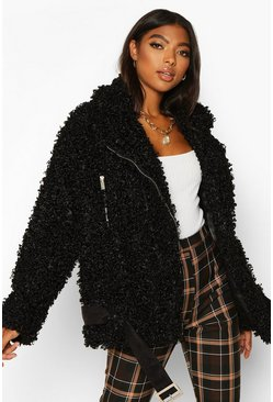 Womens Black Tall Teddy Faux Fur Belted Aviator