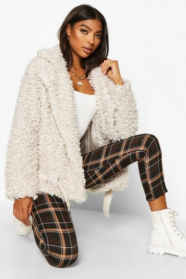 Cream Tall Teddy Faux Fur Belted Aviator