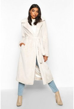 Womens Cream Tall Belted Faux Fur Coat