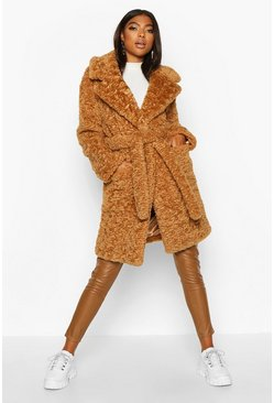 Dam Toffee Tall Belted Faux Fur Teddy Coat