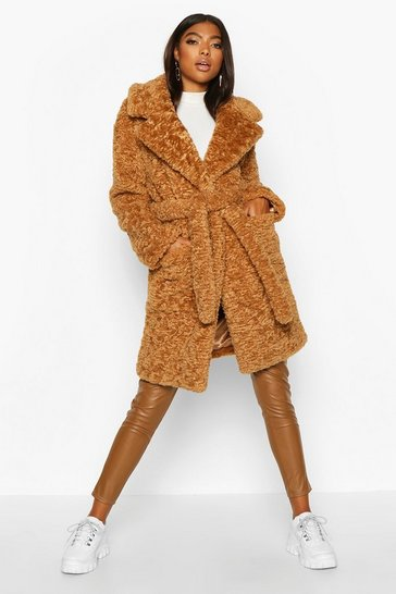 Womens Toffee Tall Belted Faux Fur Teddy Coat