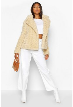 Womens Cream Tall Faux Fur Aviator