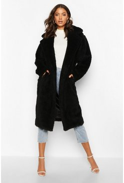 Womens Black Tall Oversized Faux Fur Teddy Coat