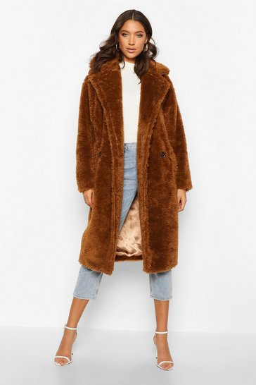Tobacco Tall Oversized Faux Fur Teddy Coat