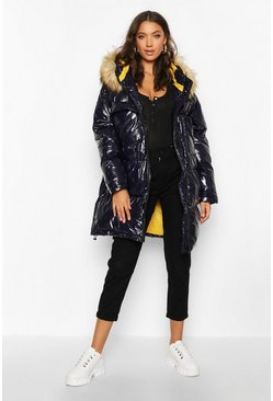 Navy Tall Faux Fur Hood High Shine Padded Coat