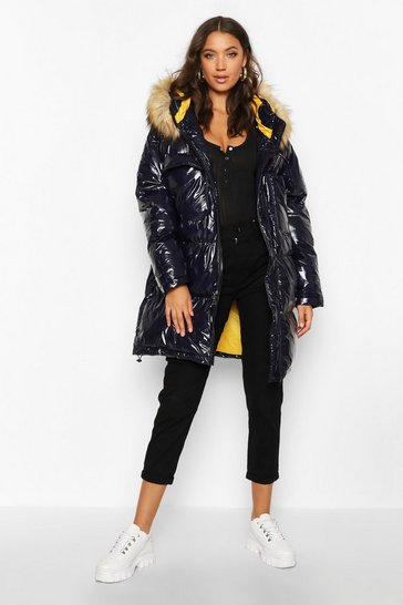 Womens Navy Tall Faux Fur Hood High Shine Padded Coat