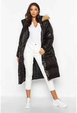 Womens Black Tall Longline Faux Fur Hood Padded Coat