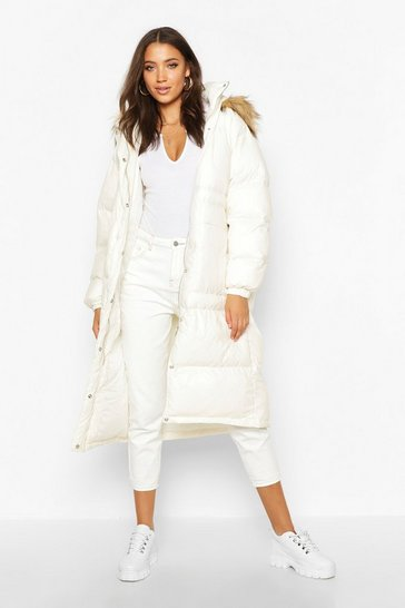 Womens Pearl Tall Longline Faux Fur Hood Padded Coat