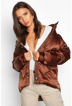 Womens Chocolate Tall Satin Padded Jacket