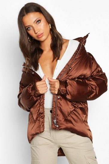Chocolate Tall Satin Padded Jacket