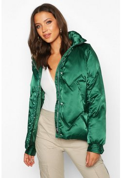 Womens Emerald Tall Satin Padded Jacket