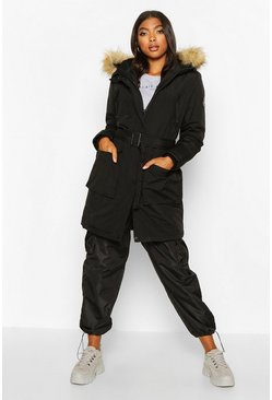 Black Tall Belted Parka with Faux Fur Trim Hood