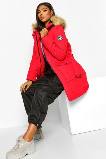 Womens Red Tall Belted Parka with Faux Fur Trim Hood