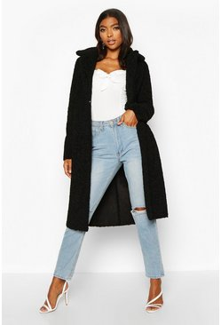 Womens Black Tall Teddy Faux Fur Coat