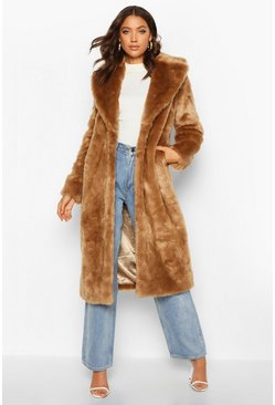 Womens Camel Tall Long Faux Fur Coat
