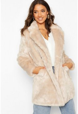 Womens Oatmeal Tall Double Breasted Faux Fur Coat