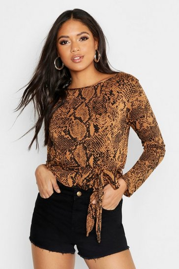 Womens Tan Tall Snake Print Belted Top