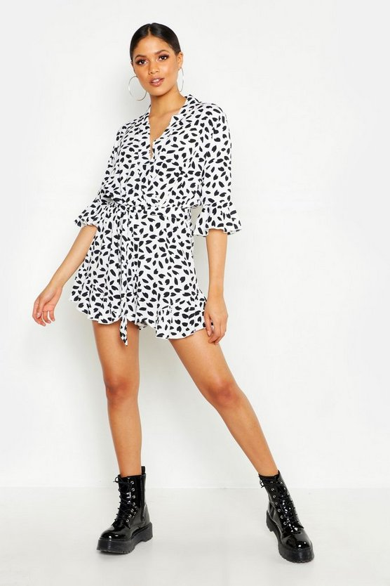 Womens White Tall Dalmatian Print Ruffle Wrap Playsuit