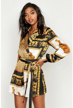 Dam Black Tall Scarf Print Wrap Playsuit