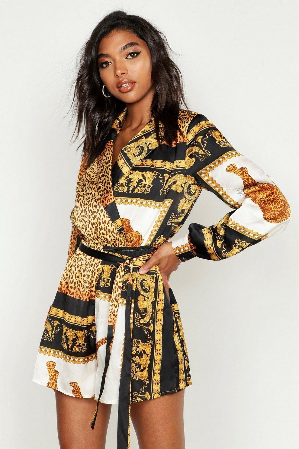 abaa41e85 Tall - Combishort cache-cœur à imprimé foulard