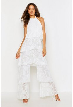 White Tall Floral Frill Layered Jumpsuit