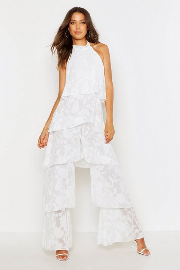 Womens White Tall Floral Frill Layered Jumpsuit