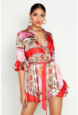 Pink Tall Chain Print Ruffle Wrap Playsuit