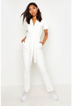 White Tall Tie Waist Contrast Stitch Boilersuit