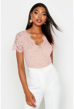 Blush Tall Short Sleeve Eyelash Lace Bodysuit