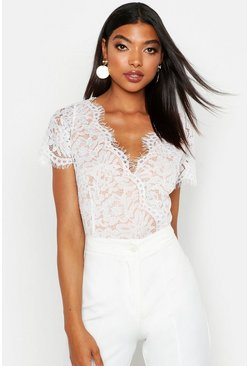 Womens White Tall Short Sleeve Eyelash Lace Bodysuit