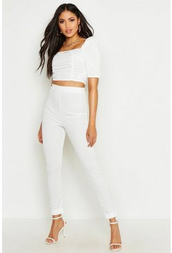 Womens Ivory Tall High Waist Skinny Pants
