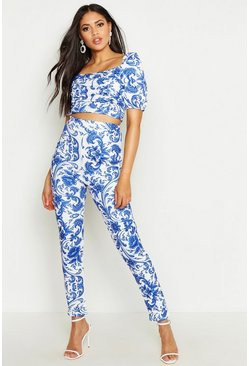 Womens Blue Tall Porcelain High Waist Skinny Trousers