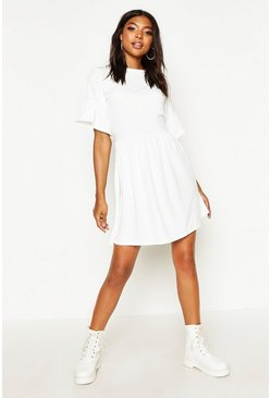Womens Ivory Tall Ribbed Frill Sleeve Smock Dress