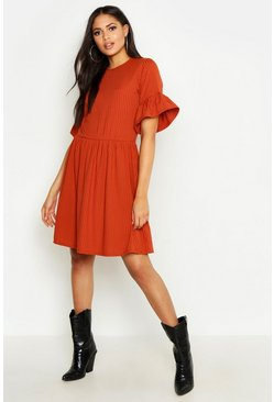 Womens Terracotta Tall Ribbed Frill Sleeve Smock Dress