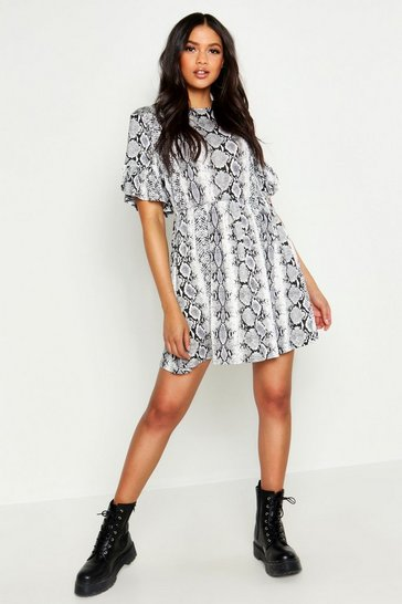 Womens Grey Tall Snake Print Smock Dress