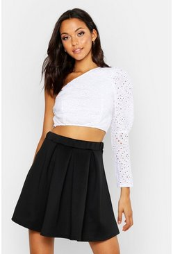 Womens Black Tall Box Pleat Skater Skirt