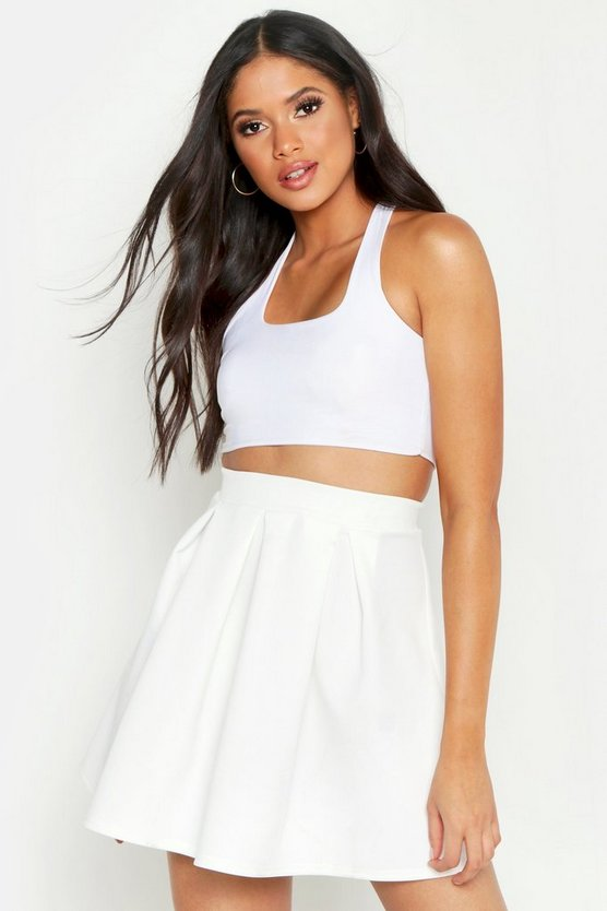 Womens White Tall Box Pleat Skater Skirt