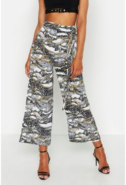 Womens Ivory Tall Chain Print Belted Culottes