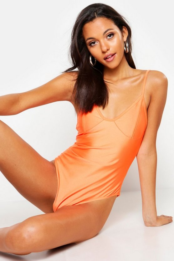 Womens Orange Tall Seam Detail Swimsuit