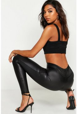 Womens Black Tall Leather Look High Waist Skinny Leggings
