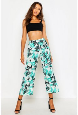 Womens Green Tall Palm Print Culottes