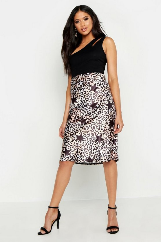 Womens Tall Star and Leopard Print Midi Skirt