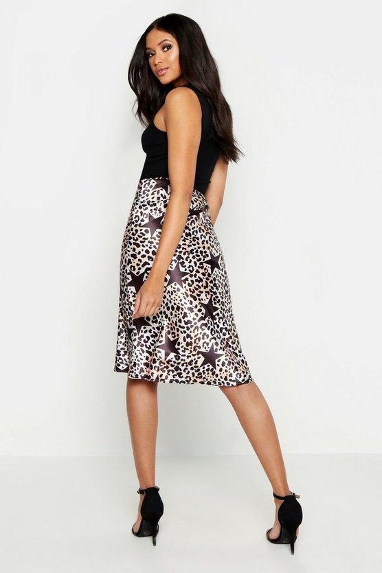 Tall Star and Leopard Print Midi Skirt