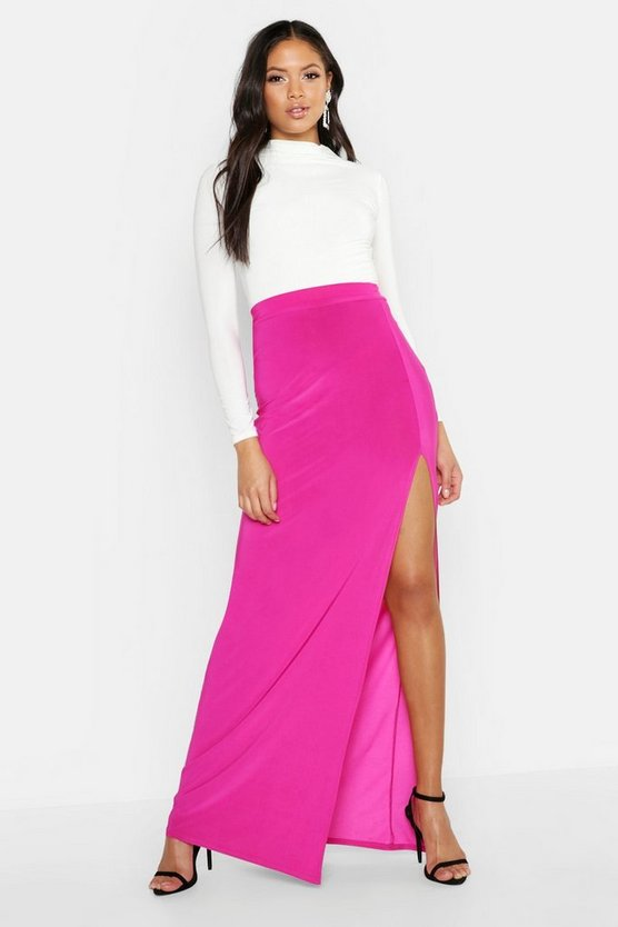 Womens Hot pink Tall Slinky Side Split Maxi Skirt