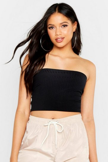 Black Tall Neon Rib Bandeau