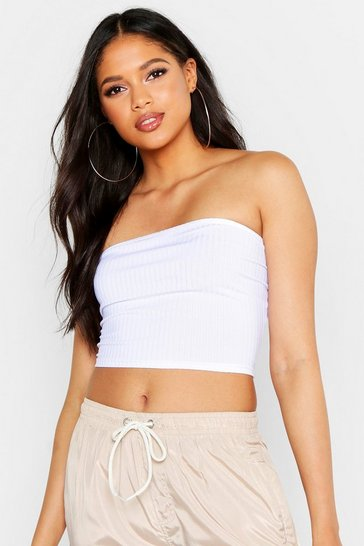 Womens White Tall Neon Rib Bandeau